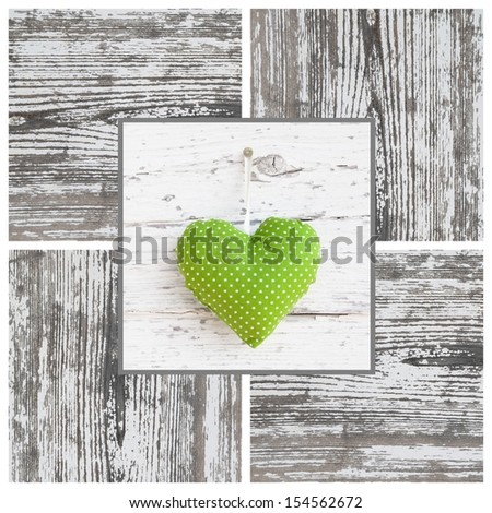 Handmade green dotted heart shape and wooden frame - handmade - greeting card for birthday or card just to say thank you - stock photo