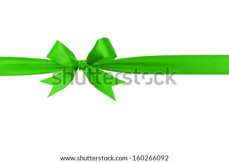 handmade green ribbon bow horizontal border, isolated - stock photo