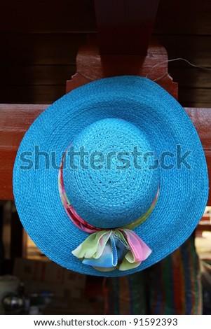 Handmade hat made from grass - stock photo