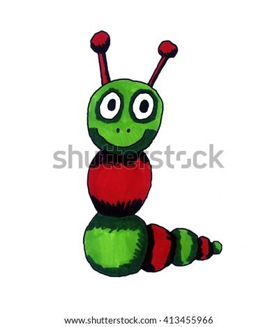 Handmade illustration of a worm - stock photo