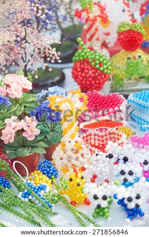 Handmade items in the open-air flea market - stock photo