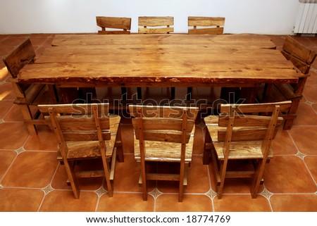 Handmade large kitchen table - stock photo