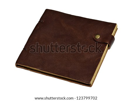 handmade leather brown notebook isolated on white - stock photo
