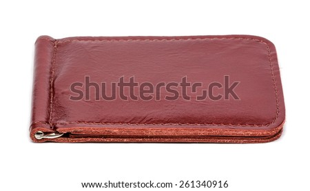 Handmade leather wallet on white background
