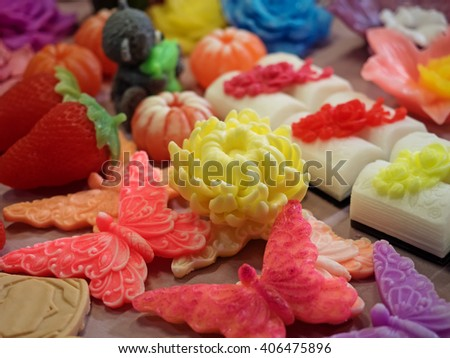 Handmade Market - handmade decorative soap on the counter. Shallow depth of field. - stock photo
