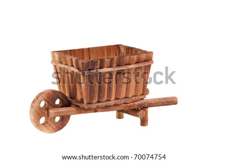 Handmade model of an wooden cart standing isolated on white background - stock photo