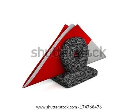Handmade napkin holder wrapped in leather  and colorful napkins isolated on white background. - stock photo