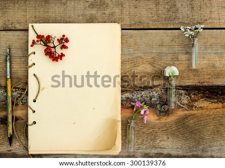 handmade notebook with old pen on a wooden background