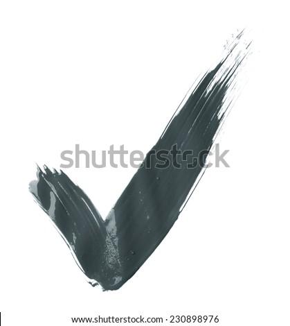 Handmade oil paint brush stroke yes tick mark, isolated over the white background - stock photo