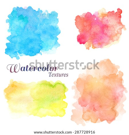handmade or realistic isolated wet watercolor on paper texture set - stock photo