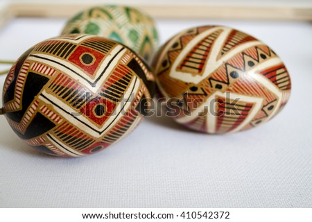 Handmade painted Easter eggs. Close up. Traditional colorful Pysanka. - stock photo