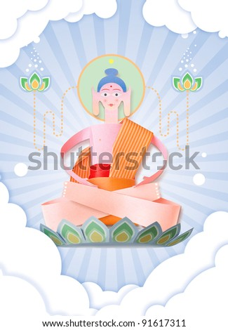 Handmade Paper Buddha - stock photo