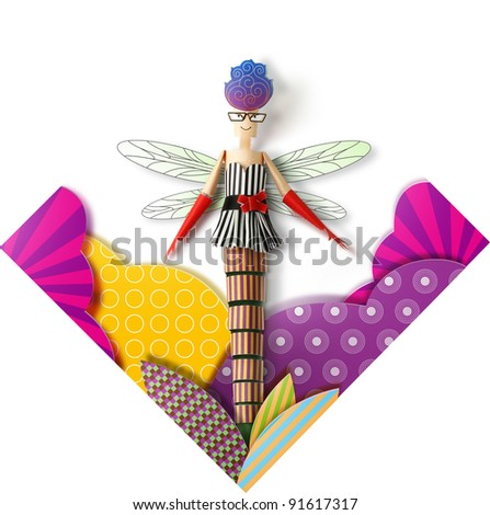 Handmade Paper Dragonfly - stock photo