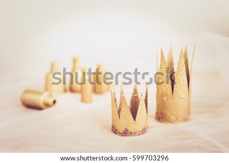 handmade paper princess crowns painted with gold