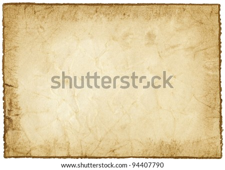 Handmade paper with golden edge isolated on white - stock photo