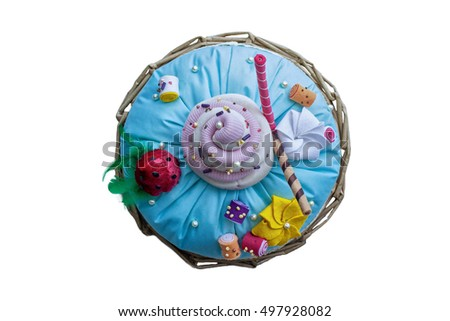 Handmade Pilow Cake with mastic, fairy, sweets for children's birthday, isolated, top view