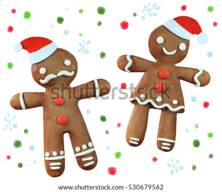Handmade plasticine gingerbread men in Santa hat isolated on white background. Christmas symbols.