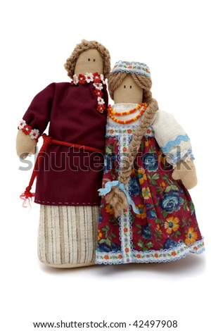 Handmade puppet Couple shoot over white background