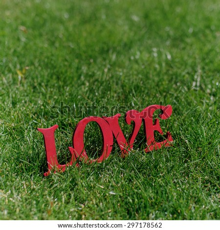 handmade red wooden letters LOVE on green grass - stock photo