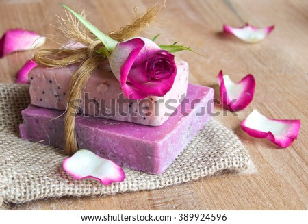 Handmade rose scented natural soap. Spa products