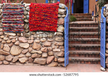 Handmade rugs for sale in Santa Fe, New Mexico - stock photo