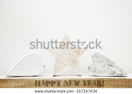 handmade rustic hearts  and star - stock photo