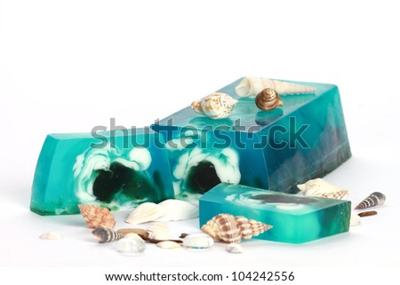 Handmade sea breeze Soap closeup.Spa products - stock photo