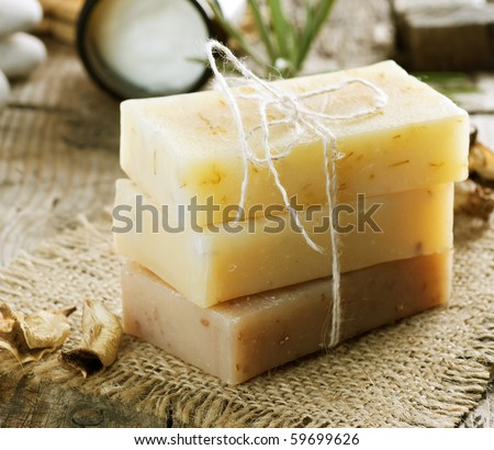 Handmade Soap closeup.Spa products - stock photo
