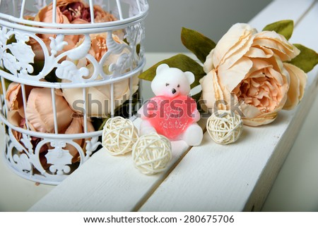 Handmade soap. In the form of bears. Pink flowers peonies - stock photo