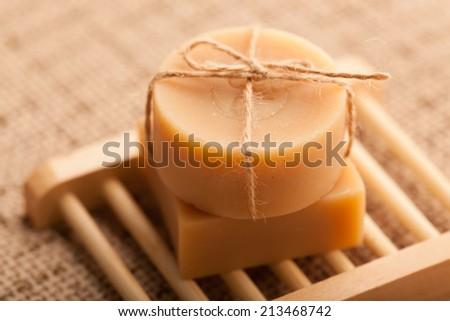 Handmade soap, making use of natural raw materials - stock photo