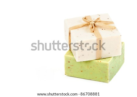 Handmade Soap on a white background with space for text - stock photo