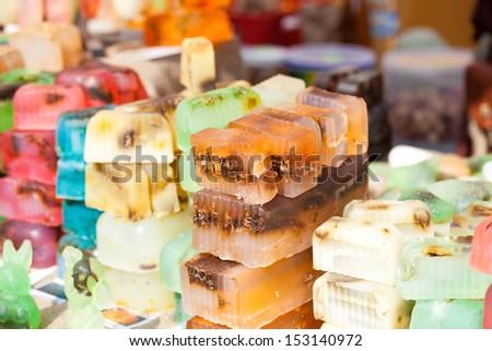 Handmade soap on the market in Latvia - stock photo
