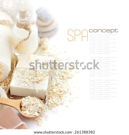 Handmade soap with oatmeal, milk and cocoa on a white background