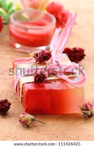 handmade soap with the scent of roses