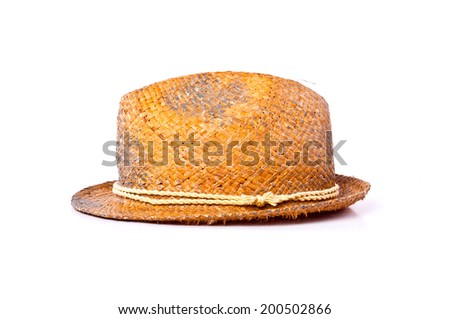 Handmade Straw Fedora, Fashion Design Style Hat with Rope Strip Isolated on white background. - stock photo