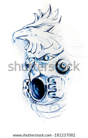 Handmade tattoo sketch over white paper - stock photo