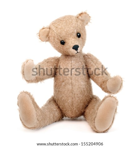 Handmade teddy bear isolated on white background - stock photo