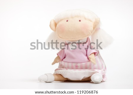 handmade toy cute litlle girl on the white - stock photo
