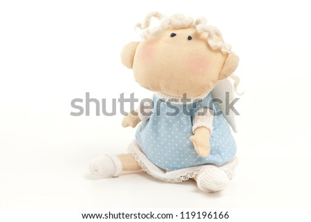 handmade toy cute little angel boy isolated - stock photo