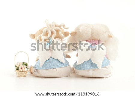handmade toys boy and girl on the white - stock photo