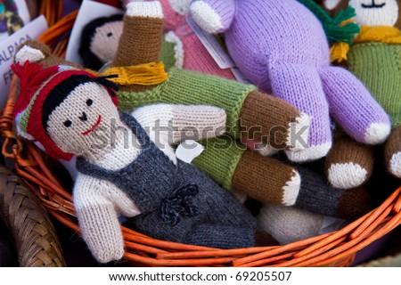Handmade toys knit from alpaca yarn - stock photo