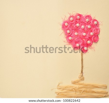 Handmade tree landscape paper abstract background - stock photo