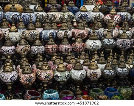 handmade turkish glass candle holders for sale - stock photo