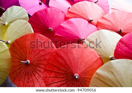 handmade umbrella in thailand - stock photo