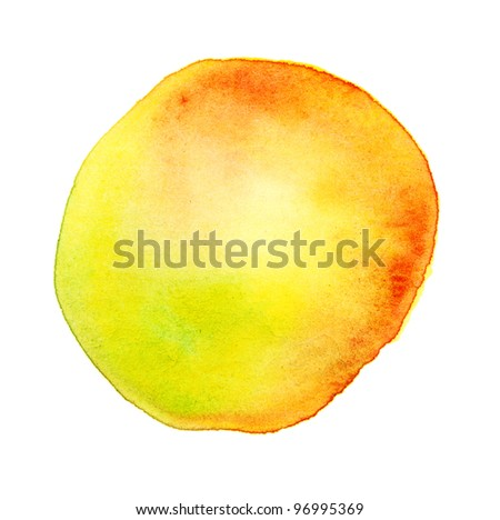 handmade watercolor sun yellow spot - stock photo