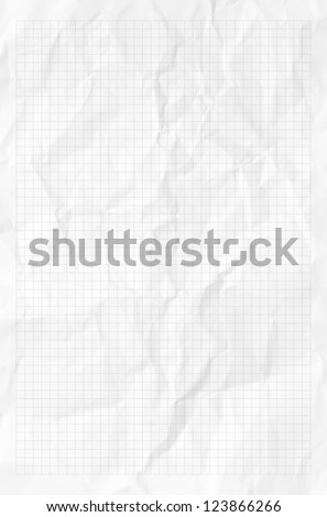 Handmade white graph grid scale crumpled paper texture or background - stock photo