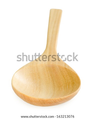Handmade wooden spoon isolated on a white background.