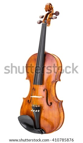 Handmade wooden violin, isolated on white