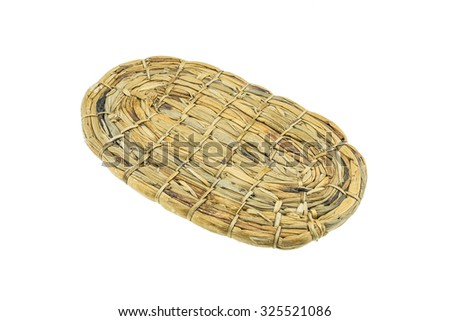 Handmade woven dry water hyacinth tray on white background