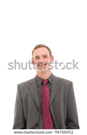 Handome smiling businessman Handome smiling businessman isolated on white with copy space